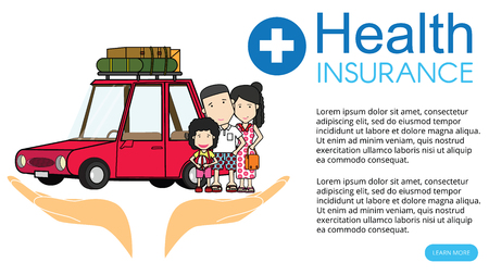 happy family enjoying trip. vector illustration wide design. Çizim