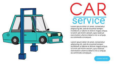 Auto mechanic working under a car. Flat vector design.