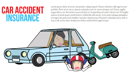 Motorbike hit private car cannot drive. With frightened. Flat vector illustration design. Çizim