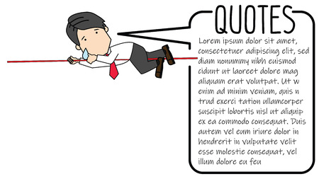 Businessmen are climbing the ropes in jeopardy to succeed. Funny vector concept