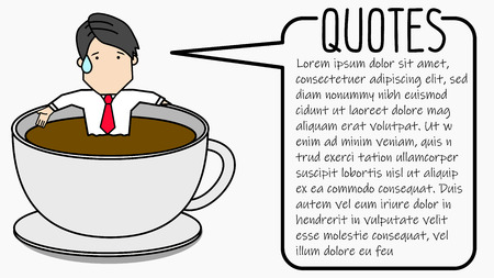 Businessman relaxing in hot coffee cup. Funny vector style. Illustration