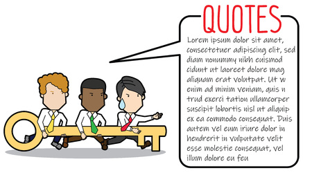 Businessman team holding key forward to success, Funny vector Concept Illustration
