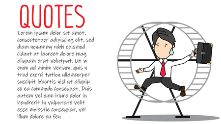 Businessman running in a hamster wheel. Funny businessman vector style.