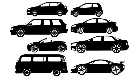 car icons in sticker style. Be black In vector format.