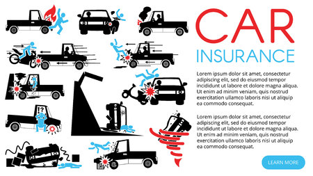 silhouette icons of pickup truck accident and insurance sign. In vector style.