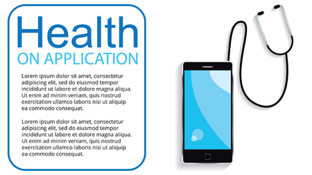 app and stethoscope. Medical healthcare and medicine mobile consultant. Vector illustration