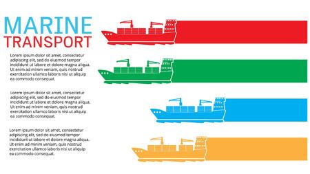 Nave da carico White Marine diretta per l'esportazione e l'importazione di merci, aggiungere il testo per completare. Stile vettoriale