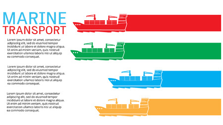 White marine cargo ship bound for export and import goods, add text to complete. Vector style