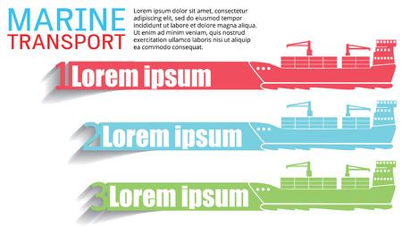 Nave da carico White Marine diretta per l'esportazione e l'importazione di merci, aggiungere il testo per completare. Stile vettoriale Vettoriali