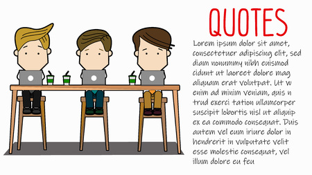 businessmen working in coffee shop. Funny vector concept.