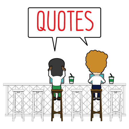 two businessman sit working together in the coffee shop. Funny flat vector concept.
