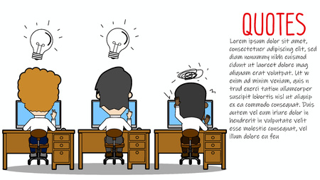 Business people on desk with graphics over head. Funny flat vector design.