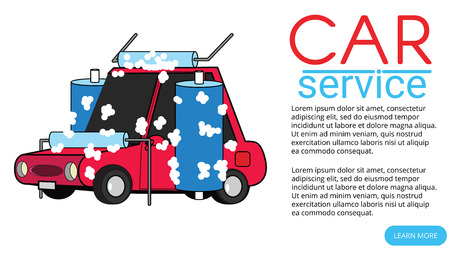Red Car was cleaned automatically. Flat vector illustration design.