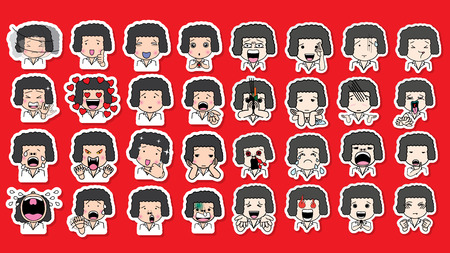 Set of cartoon character different facial expressions. boy face emotions vector sticker icons isolated on red background