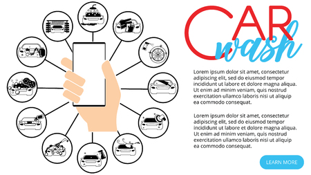 Smartphone link car wash program on vector style