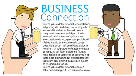 business partners toasting with smart phone app to celebrate a successful contract signing or partnership agreement. Funny vector concept. Illustration