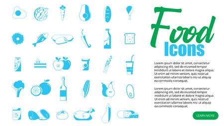 Supermarket and shop icons. Trade pictogram. Market vector graphic. Commercial design collection. Ilustração