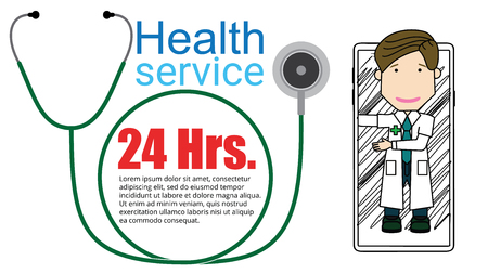 smartphone with a stethoscope and doctor health apps on-line flat vector