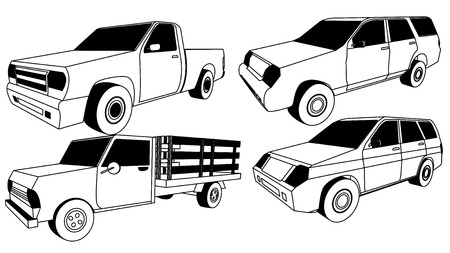 Vector Pickup Truck silhouette icons  イラスト・ベクター素材