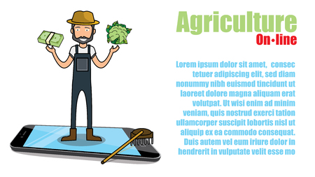trade and Farmer with fresh vegetables coming out of application on smartphone, vector illustration flat design Illustration