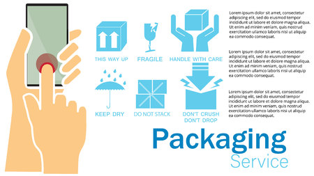Vector packaging symbols and send from smartphone Illustration