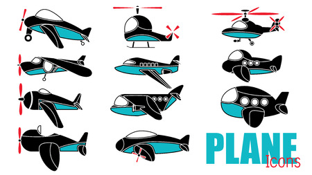 Cute airplane icons for add text of business information. Vector style Illustration