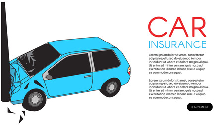 Car Accident With Pole and red radius Vector Illustration