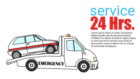 Roadside assistance comic tow truck illustration damage car vector on red radius