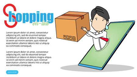 Businessman online shipping over generic smartphone on funny flat vector style.