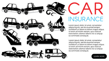 Car crash and accident in sticker mode on shadow  vector style Banque d'images - 124946578