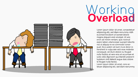 Employee sleeping in work time and angry businesswoman. Funny vector concept.