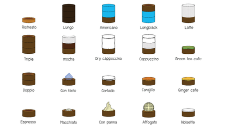 Color graphic line drawing coffee mixed icon style. Vector illustration.