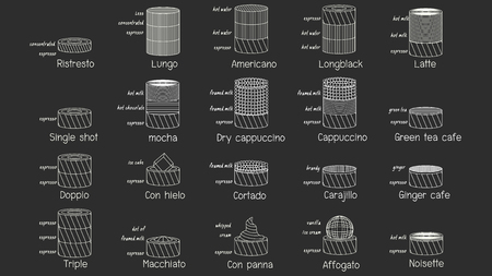 Chalk graphic stripe line drawing coffee mixed icon style. Vector illustration.