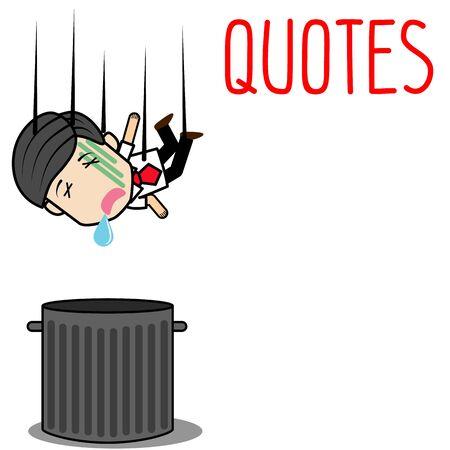 Businessman fall to trash bin. Funny cartoon vector concept Ilustração