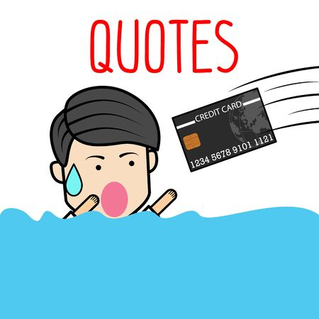Businessman Character is drowning. There is a credit card from the hopeful to save lives. 写真素材 - 129273297