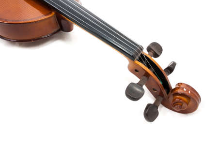 part of violin isolated on white background Stock Photo