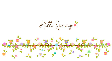 Hello Spring - Rainbow floral border and background