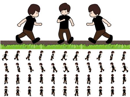 ゲームのアニメーションの歩行のシーケンスを実行する男フレーム