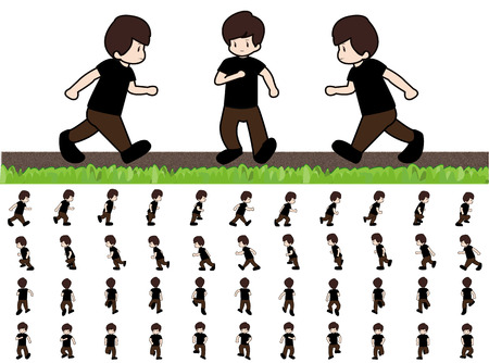 Man Frames Running Walk Sequence for Game Animation
