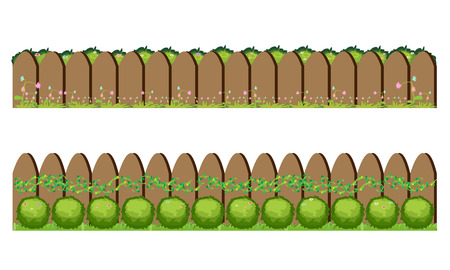 Wooden fence and grass illustration. 向量圖像