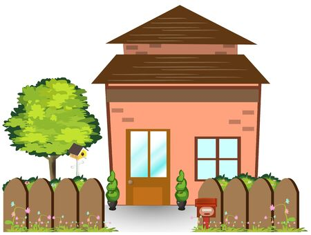 nice house: Small Fairy-tale house with nice green court yard   and wooden fence, illustration