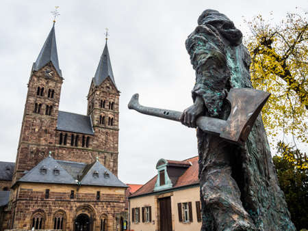 hessen: Bonifatius in front of the cathedral in Fritzlar