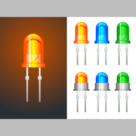 Six colored light emitting diodes in glass and metallic variants Vector