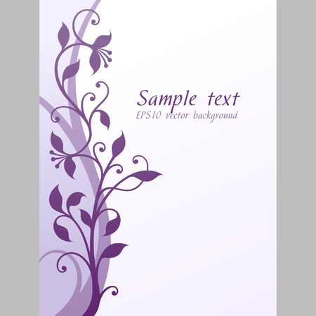 Illustration of soft violet and lilac flowers on light background with much blank space