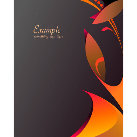 vermilion: Floral template with orange and red leafs on dark background
