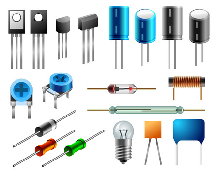 capacitor: Set of radioelements in flat and isometric variants