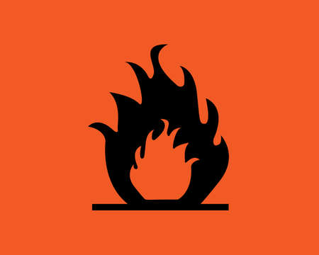 inflammable: Orange inflammable symbol.Fire