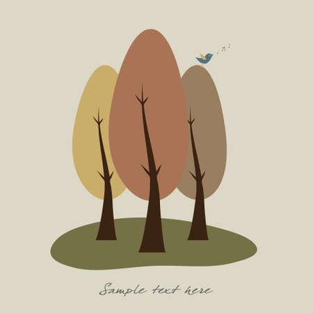Singing bird on autumn trees Stock Vector - 7758342