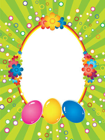 Easter greeting card with decorative eggs Vector