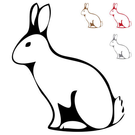 nutria caricatura: Silueta de conejo aislado sobre fondo blanco  Vectores